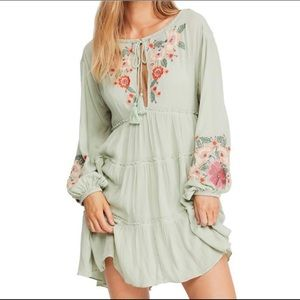 Free People Spell On You Embroidered Dress Sage